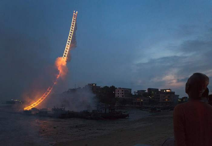 Sky Ladder- pyrotechnic artwork