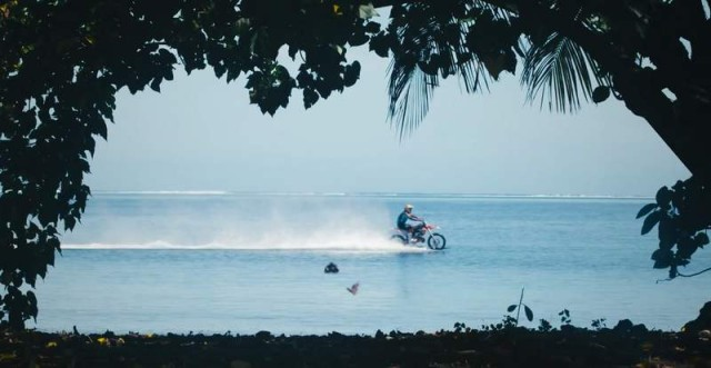 Robbie Maddison rides his dirt bike and surfing (1)