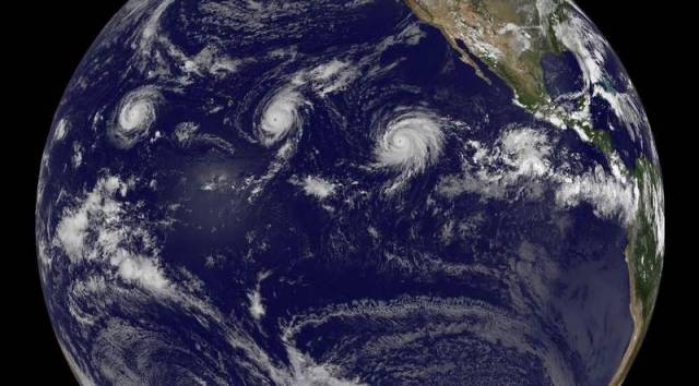 Three Category 4 hurricanes at the same time