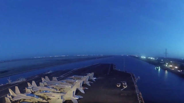 US aircraft carrier crossing the new Suez Canal