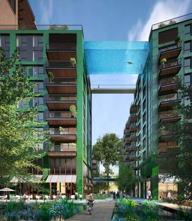 glass sky pool suspended 115 feet