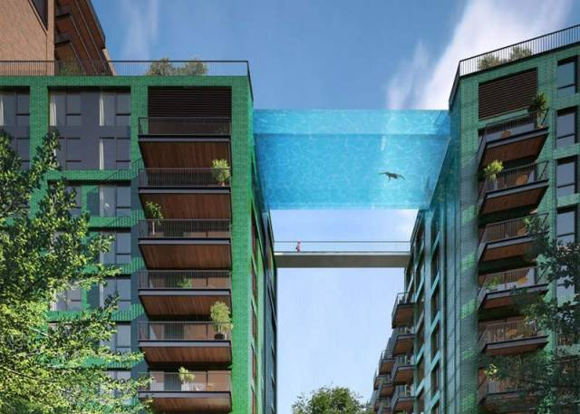 first glass sky pool suspended 115 feet