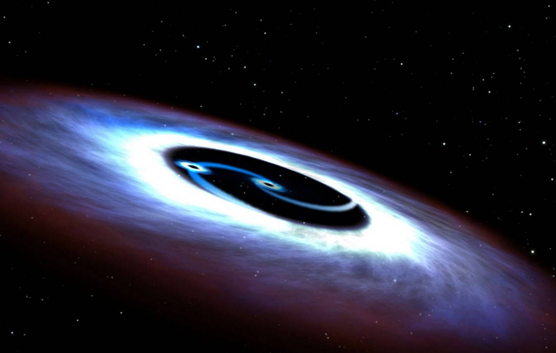 Double Black Hole inside a nearby Quasar