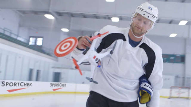 Hockey Player shoots down target Drones