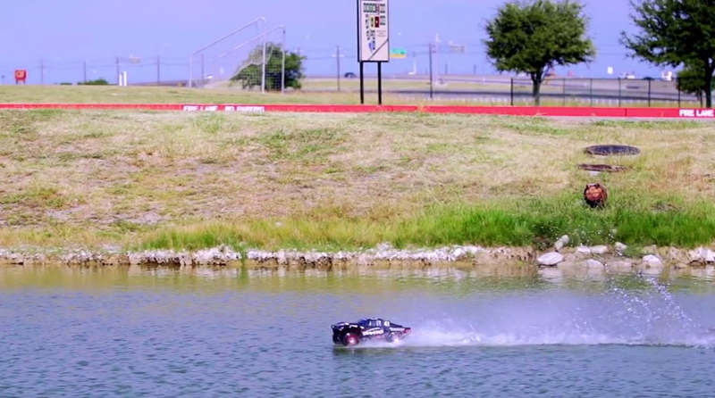Traxxas RC car is so fast it can drive on water