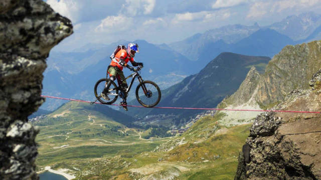 Riding a Slackline high in the French Alps