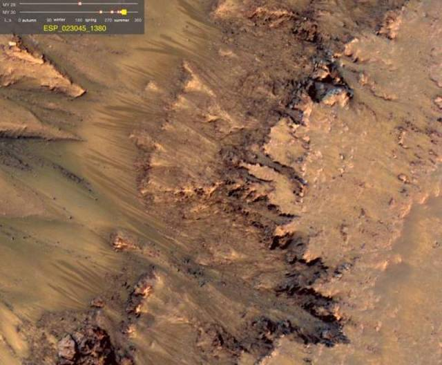 Warm-Season Flows on Slope in Newton Crater.