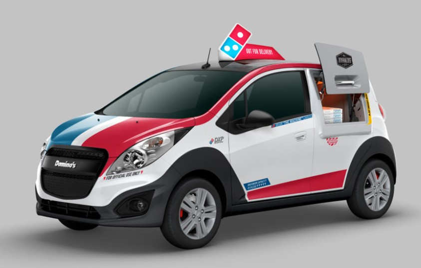 Domino's Pizza delivery car with its own oven