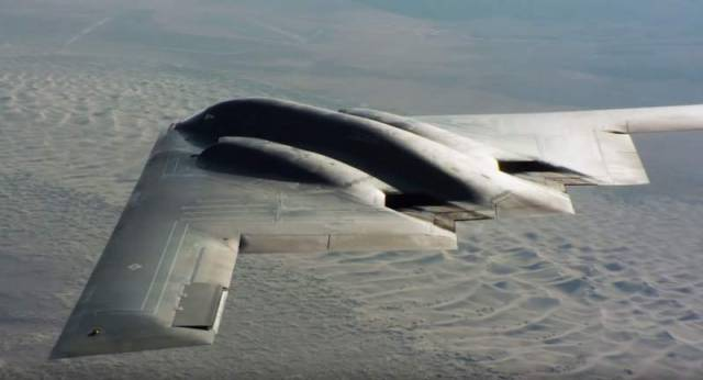 Air-to-air footage of a USAF B-2 stealth bomber