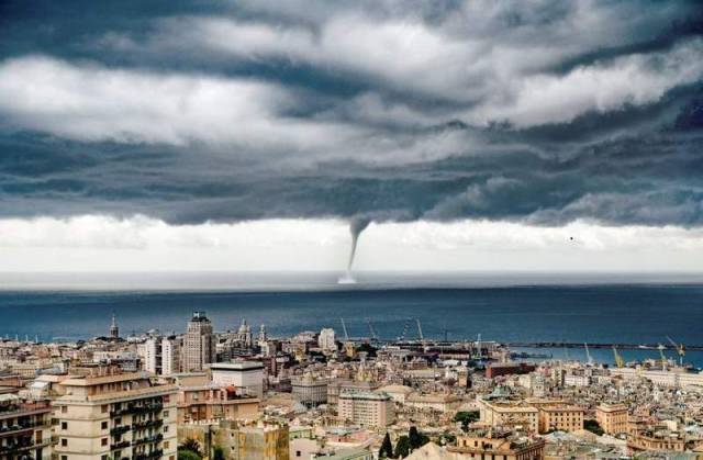 Giant Waterspout Twister near Genoa