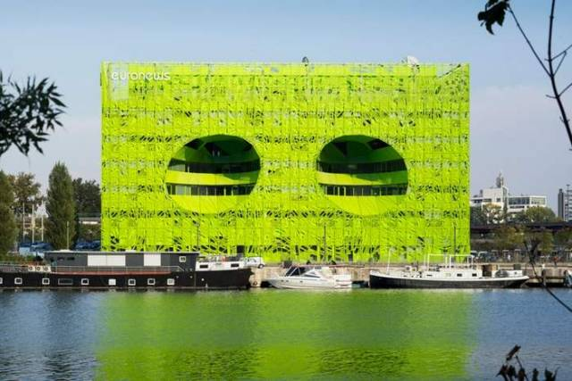 Green cube building for Euronews' HQ