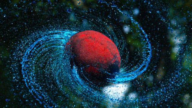 Spinning ball in Slow Mo looks like a spiraling Galaxy