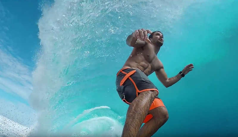 Surfing into a double overhead barrel
