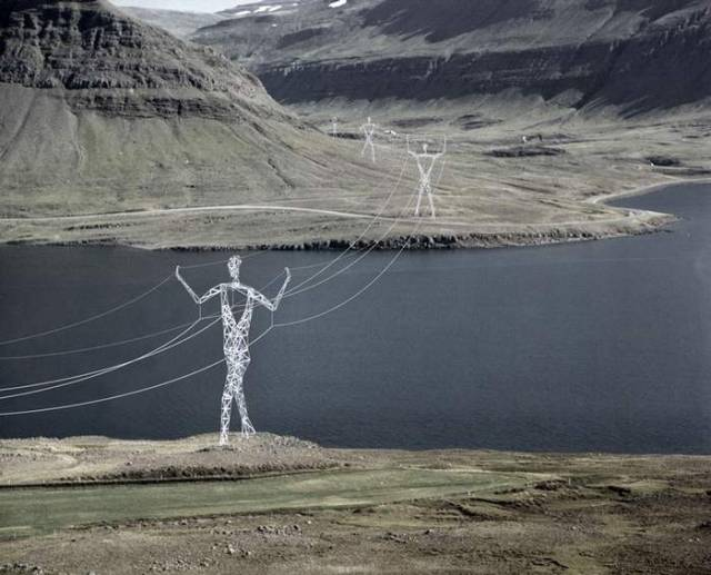 Electricity Pylons into giant Human Statues