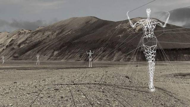 Turning Electricity Pylons into giant Human Statues (3)