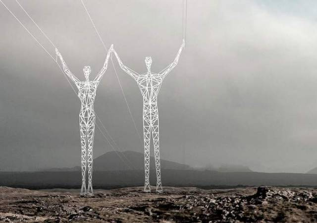 Turning Electricity Pylons into giant Human Statues (2)