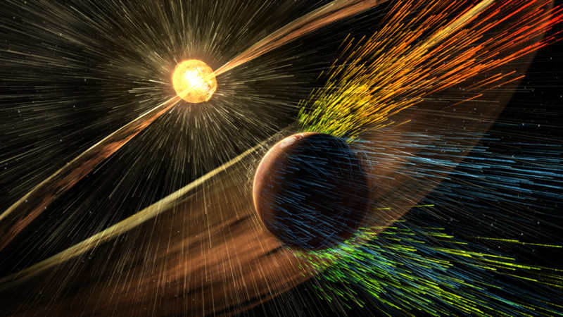 Solar Wind stripped Martian Atmosphere