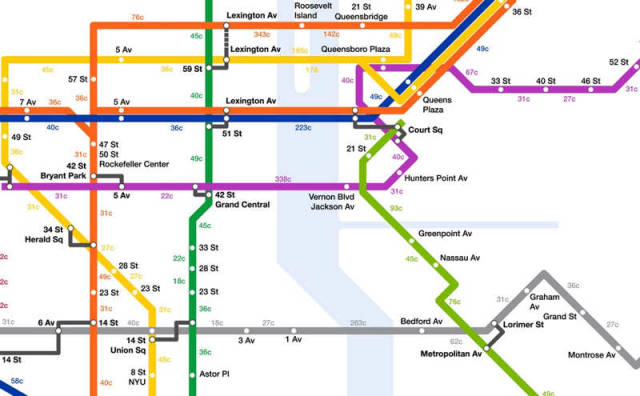 NYC Subway map with Calories burned by Walking