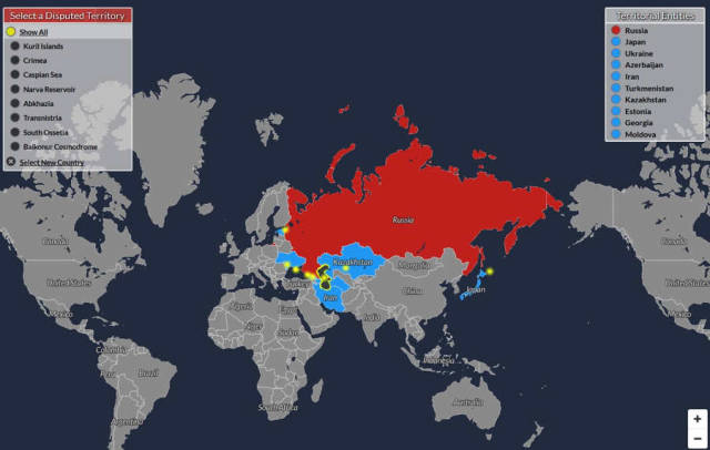 A World map of Disputed Territories