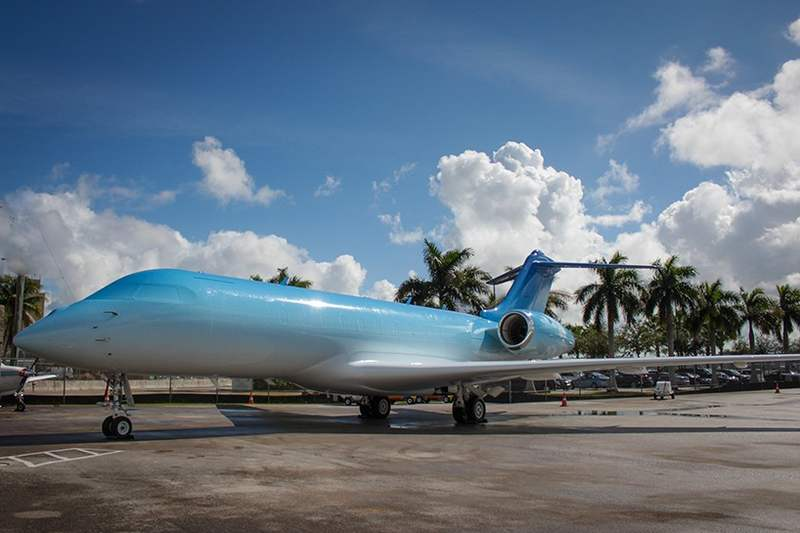 WordlessTech  A Customized Private Jet With Blue Ombre Finish