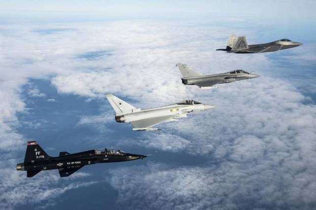 F-22 Raptor, a Royal Air Force Eurofighter Typhoon and a French Air Force Dassault Rafale