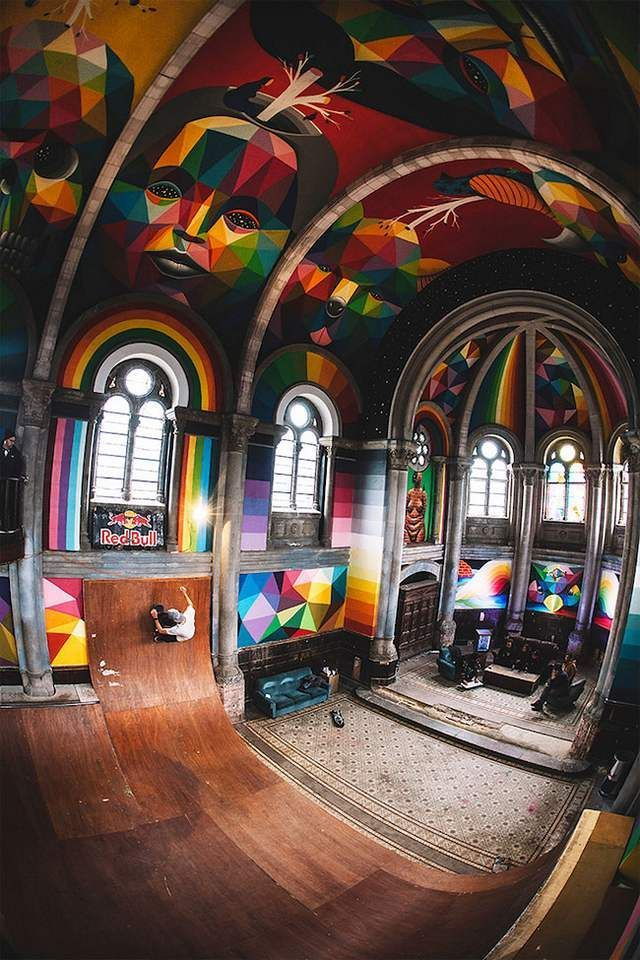 A historic Church transformed into colored Skate Park