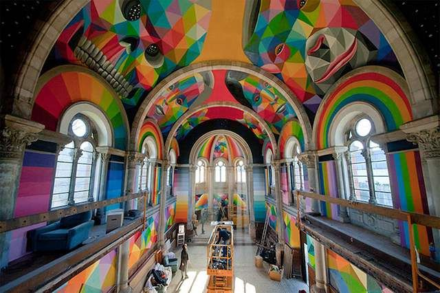 A historic Church transformed into colored Skate Park (4)