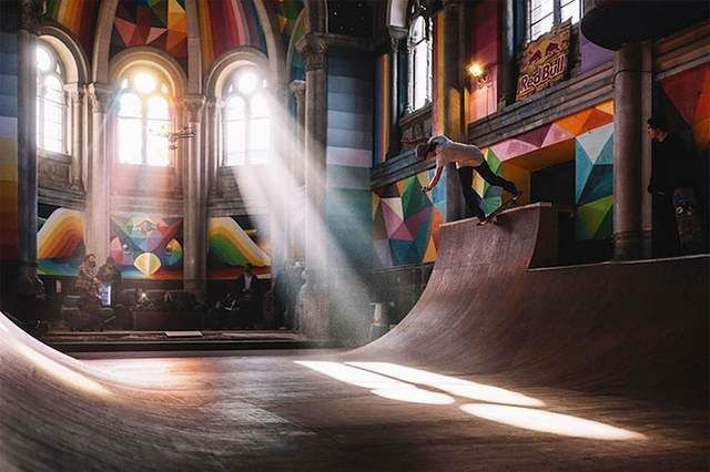 A historic Church transformed into colored Skate Park (3)