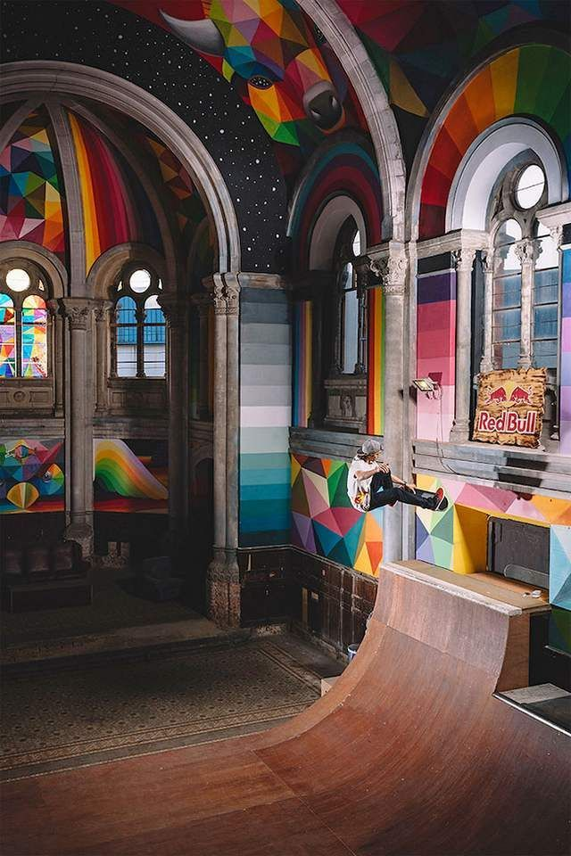 A historic Church transformed into colored Skate Park (1)