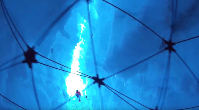 Drone flies inside a Glacier