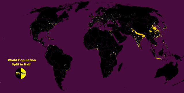 Half the World's Population Lives in this yellow 1% of the Land