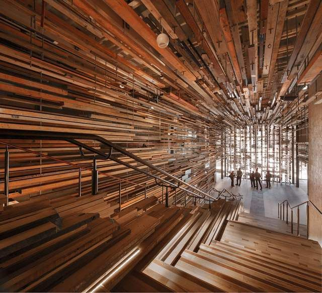 Hotel Hotel interior created by recycling pieces of wood