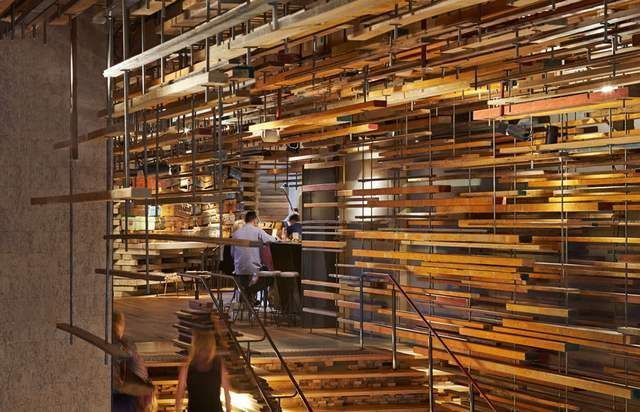 Hotel Hotel interior created by recycling pieces of wood (4)