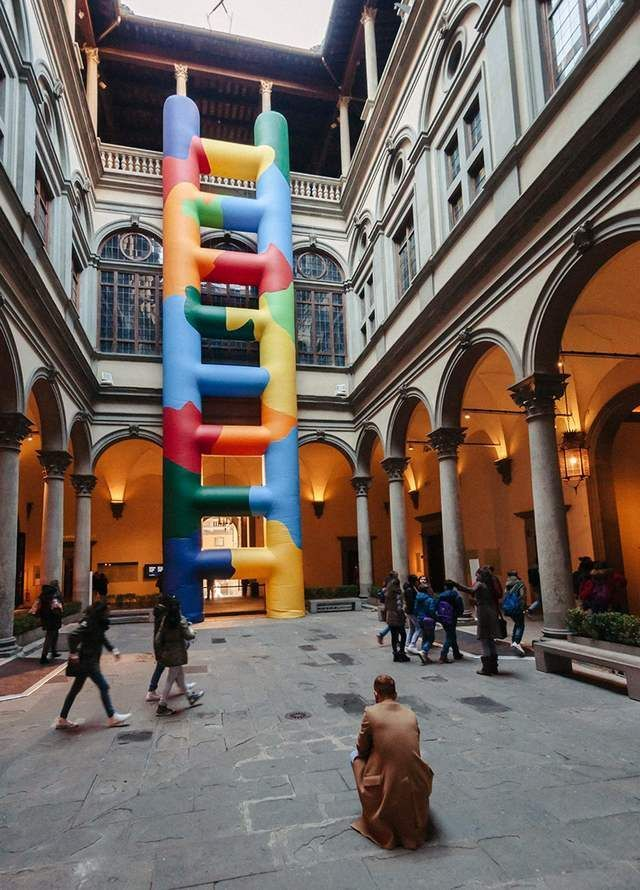 Inflated technicolor ladder within Palazzo Strozzi (2)