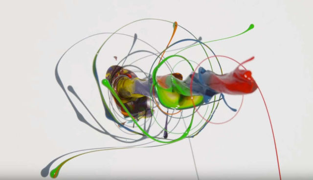 Paint Spinning Drill in slow mo