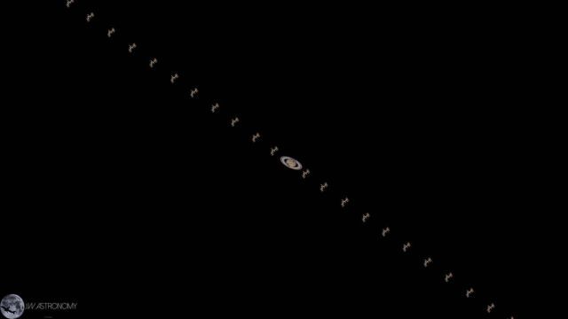 Space Station Transits Saturn