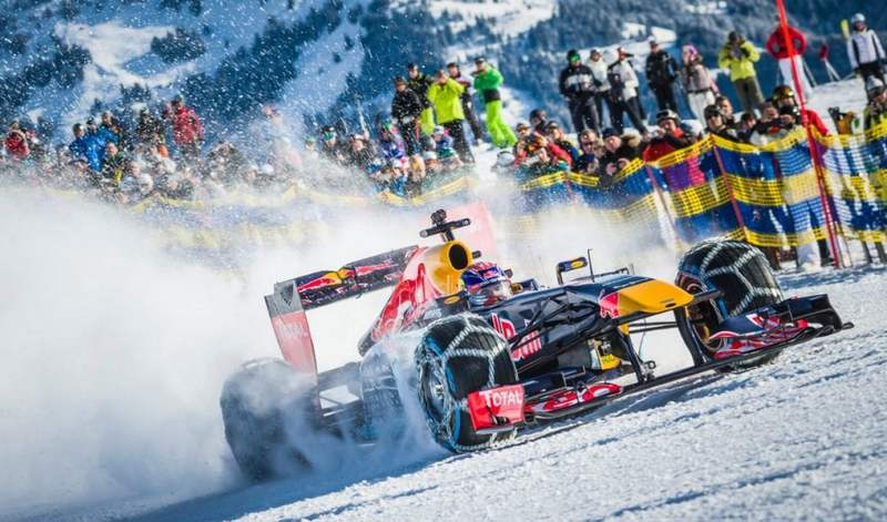 Red Bull F1 car on a Ski slope