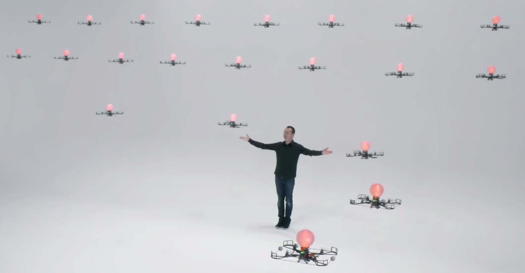 24 Flying Drones Dancing in formation