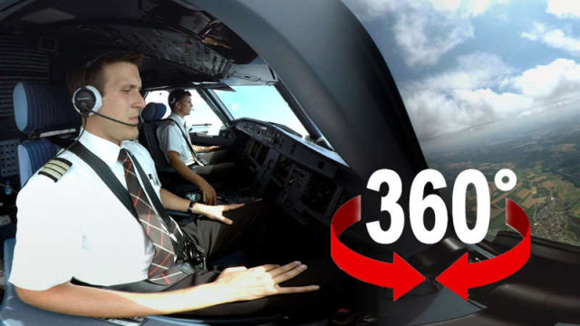 360° cockpit view - Swiss Airbus A320