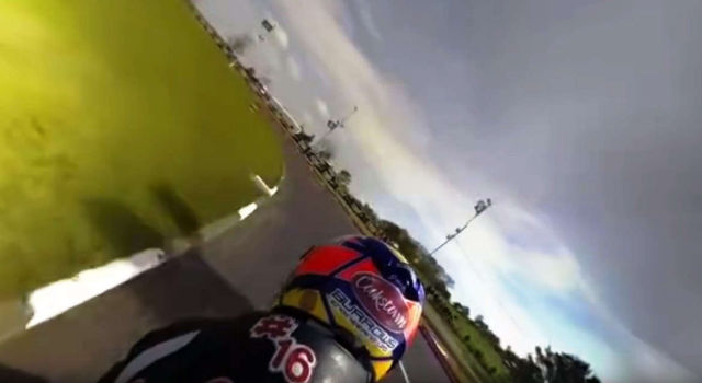 360° view of a very fast motorbike practice lap