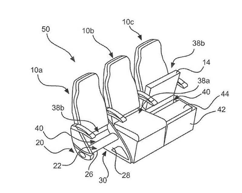 Airbus' new Seat with a Storage compartment