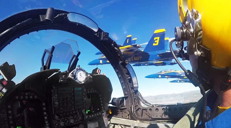 Blue Angels' Cockpit video of Super Bowl 50 Flyover