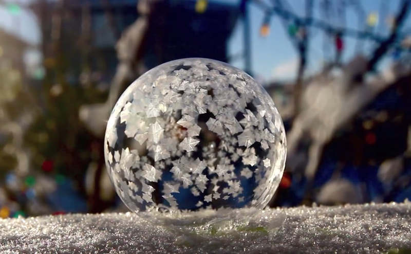 Frozen Soap Bubbles