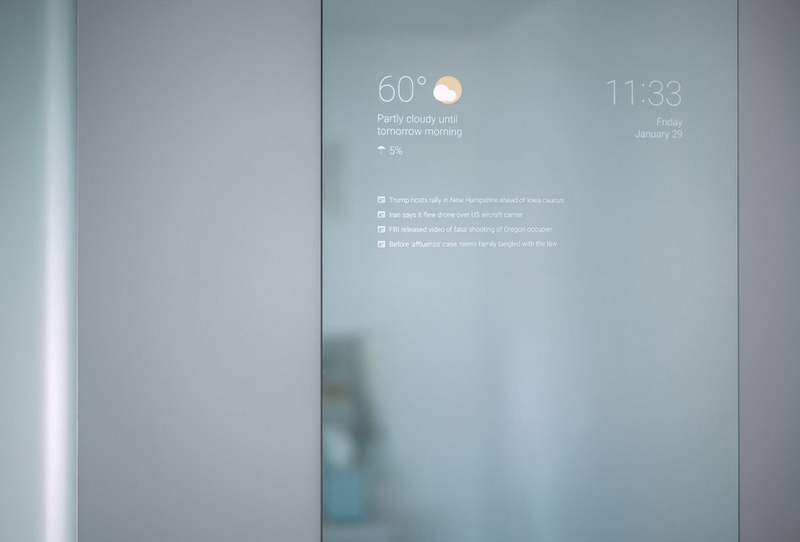 Google Now Mirror in your Bathroom