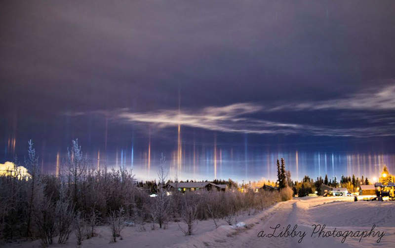 Light Pillars over Alaska