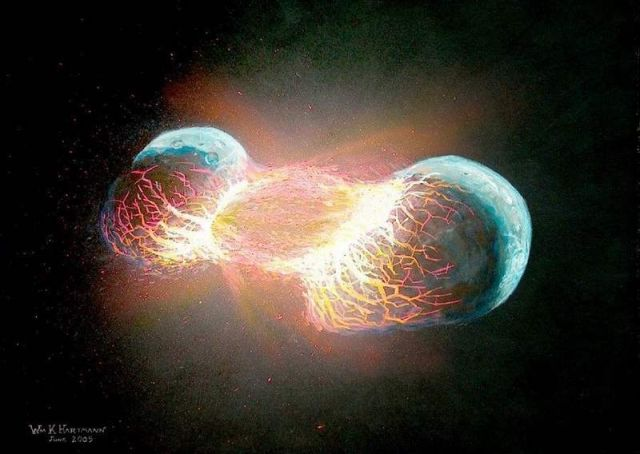 Moon was created by a collision between Earth and aplanet Theia