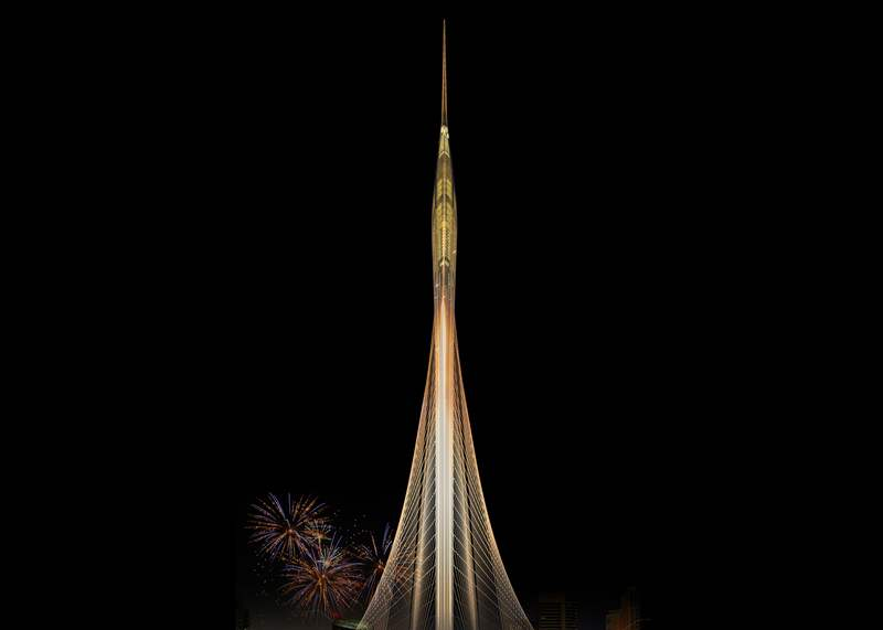 Observation tower in Dubai Creek Harbor by Santiago Calatrava