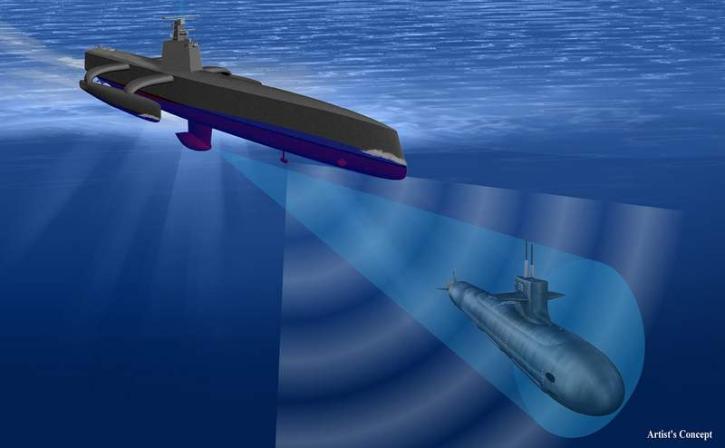 Submarine Hunting 132 foot long Robot Ship