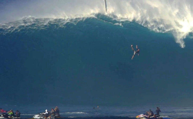 Surfer Drops 40 Feet