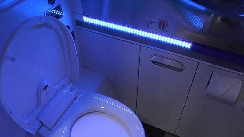 wordlesstech boeing s new uv light self cleaning airplane bathroom